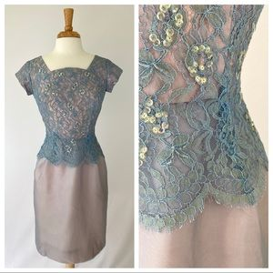 Vtg 1950s Iridescent Lace Dress S